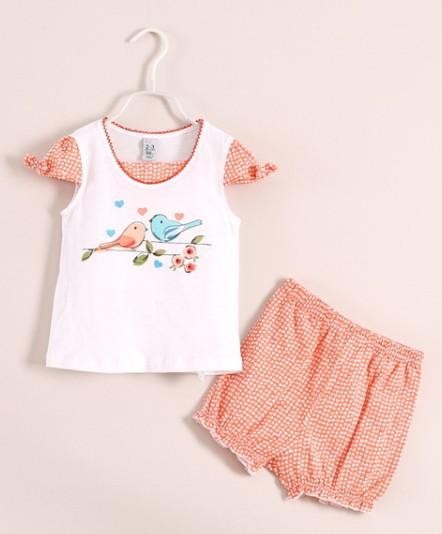 2014 Summer suit Girls baby 100% cotton short sleeve T-shirt + shorts  Wholesale Bowknot, cherry, bird<br><br>Aliexpress