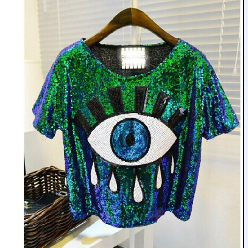 2015 free shipping womens tops fashion crop tops loose summer short tops Sequins Big Eye sexy tshirt casual blusas femininasОдежда и ак�е��уары<br><br><br>Aliexpress