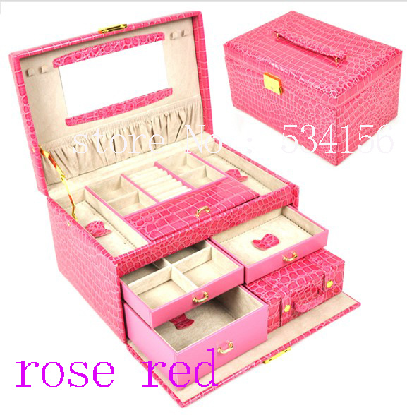 3 layers rose red  luxurious leather jewelry box  (28.5 * 19 * 16 cm)earrings jewelry packaging display box pu gift box<br><br>Aliexpress