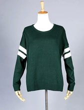 street style vintage stripe sleeve loose oversize knit casual sweater yy676(China (Mainland))