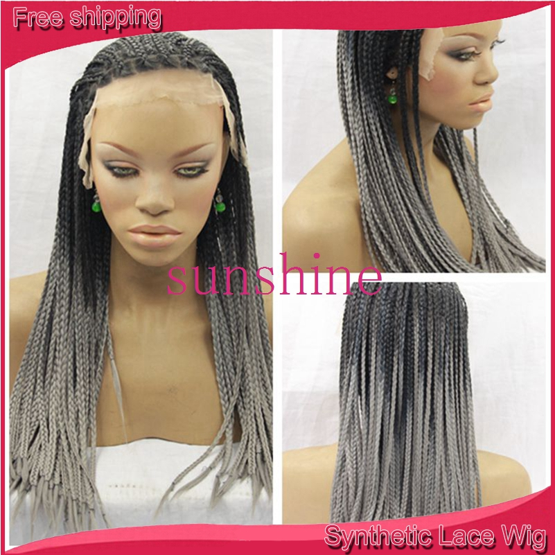 Braided Ombre Grey Synthetic Lace Front Wig Glueless Two Tone Black to Grey Heat Resistant Hair Twist Braids Synthetic Wigs<br><br>Aliexpress