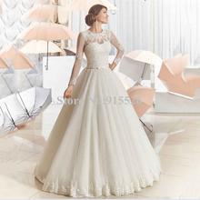 BU 2015 New Design Long Sleeve Lace Wedding Dress Appliques Scoop Floor Length Ball Gown Bow Sash Robe De Marie - endlesslove store