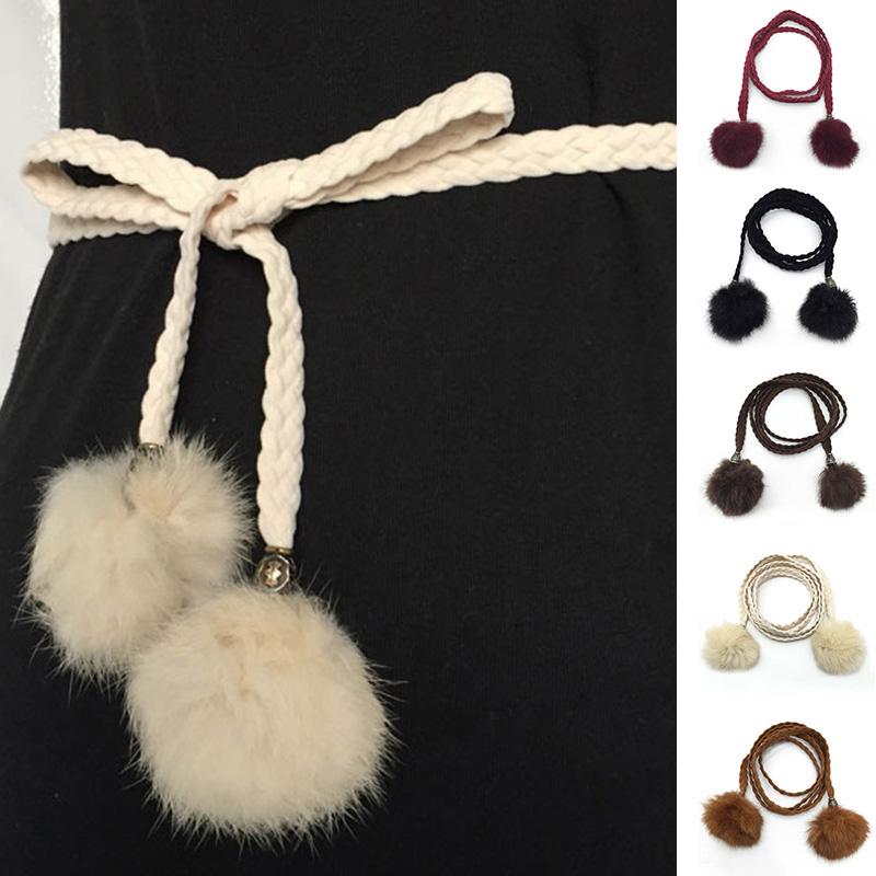 Women Belt Korea Style Thin Waist Band Faux Rabbit Fur Ball Waist Chain Artificial Leather Weave Waist Belt Clothing Accessories(China (Mainland))