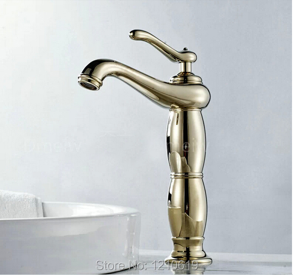 Фотография New US Free Shipping Solid Brass Bathroom Waterfall Widespread Basin Sink Faucet Golden Finish Mixer Tap Single Hole Deck Mount