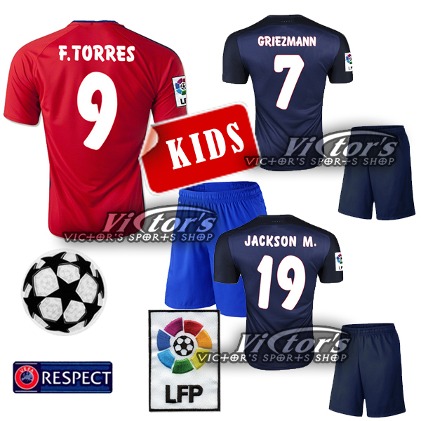 MADRID kids Jersey soccer home red JACKSON M. 19 VIETTO 15 16 away dard blue Child AT F.TORRES 9 jerseys shirt champions jersey(China (Mainland))