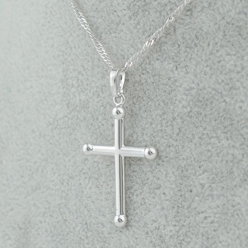 18k silver/gold plated simple small cross pendant necklaces jewelry yeshua catholic christian,homens cruz joyas,traverser,cruzar(China (Mainland))