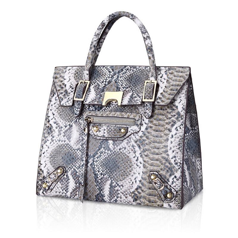 Genuine Leather Woman Bags 2016 Bag Handbag Fashion Handbags Snake Bag Famous Brand Bag luxury handbags(China (Mainland))
