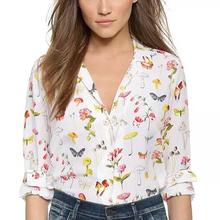 Women mushroom butterfly chiffon blouses Blusas Femininas European casual turn down collar long sleeve shirt work wear LT422(China (Mainland))