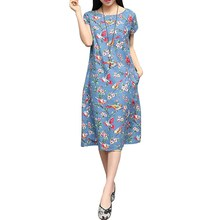 Buy 2016 Summer Fashion Women Ladies O Neck Short Sleeve Blue Black Birds Floral Print Loose Cotton Linen Dress Plus Size Vestidos for $10.99 in AliExpress store