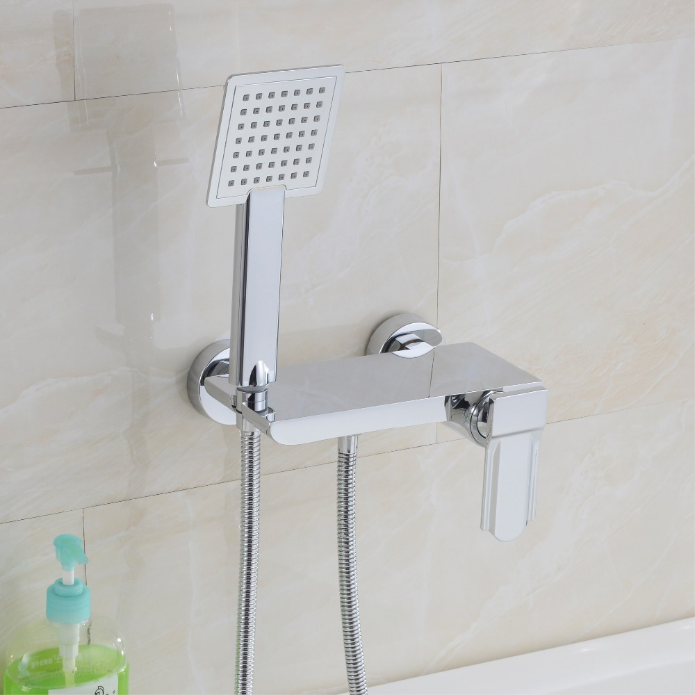 Handheld Shower Head Chrome Brass Water-Saving Pressure Rainfall Square Hand Shower Set For Bathroom Shower faucets Mixer Tap(China (Mainland))