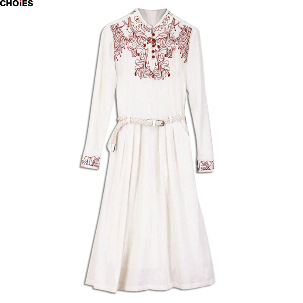Women Beige High Neck Embroidery Button Front Belted Long Sleeve Dress 2016 Spring Summer Casual Fashion Brand Loose Clothing