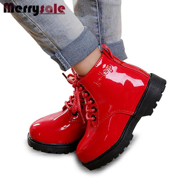 Детская обувь осень и зима 2017 детей Корейской версии Мартин сапоги кожаные непромокаемые сапоги