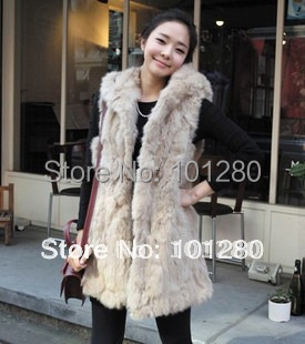 FREE SHIPPING 2012 autumn and winter women fashion imitation rabbit fur with a hood vest fur coat medium-long vest   T267