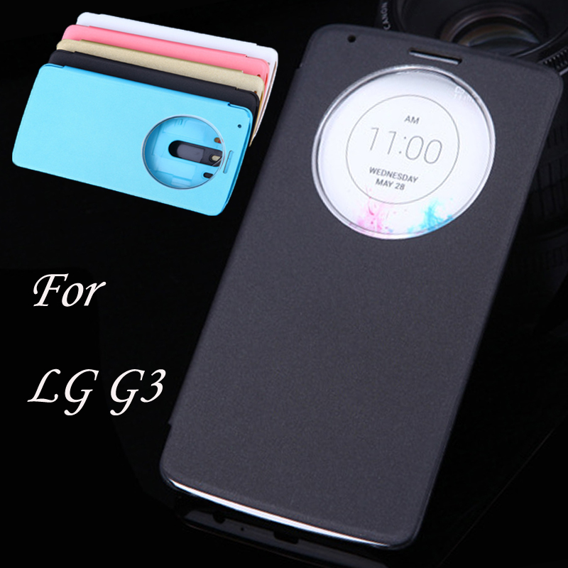 For LG G3 Case Smart Quick Window View Flip Leather Case For LG G3 Cover Phone Cases Coque for LGG3 Case Sleep Wake Fundas Capa(China (Mainland))