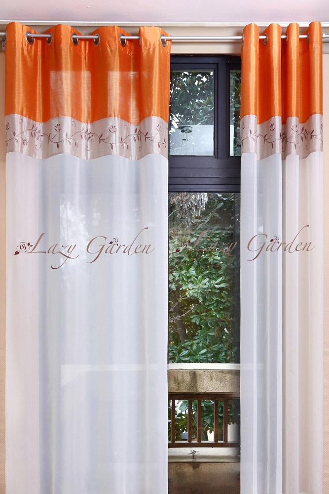 Livraison gratuite oeillet broderie voile fen tre rideaux - Style de rideaux pour salon ...
