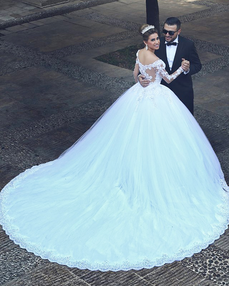 2015 long sleeve wedding dress v neck ball wedding gowns for Tulle wedding dress with sleeves
