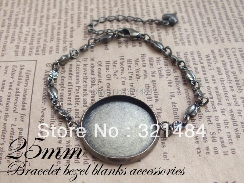 Bulk wholesale No.1 100piece antique bronze brass Chain bezel bracelet blanks 25mm cameo base settings<br><br>Aliexpress