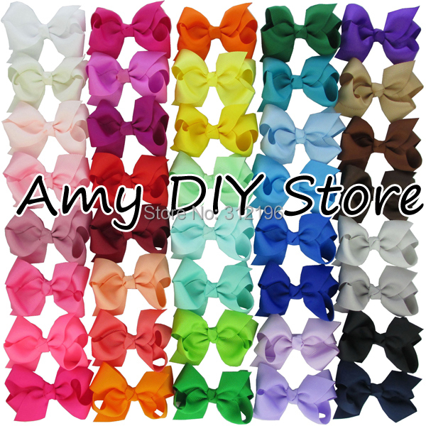 Free Shipping!40pcs/lot 40 Colors Baby Girl Grosgrain Ribbon Hair Bows With Alligator Clips,Boutique Hairclips Hair Accesories(China (Mainland))