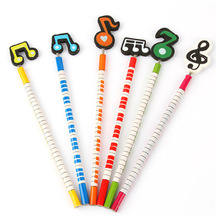 Buy 6 set/lot Musical note wooden pencil stationery set Handmade Wooden 2B Pencil Music Pencil Best Christmas Gift kids for $2.19 in AliExpress store