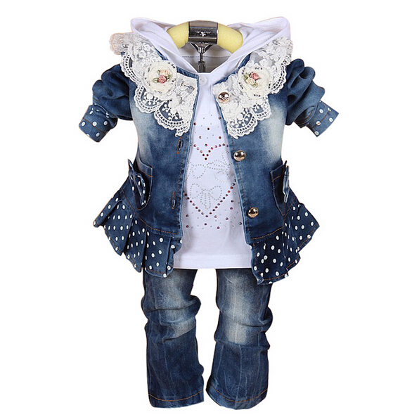 3pcs Baby Clothing Set 1st Birthday Outfit Baby Cowboy Jacket+Pants+Polo Shirt Twins Baby Clothes Infant Girl Pants(China (Mainland))