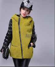 Women's Real Lamb Fur Jacket Hooded Genuine Sheep Leather Sleeves Zipper Breasted Hoody Light Yellow Warm Winter Casual AU00580