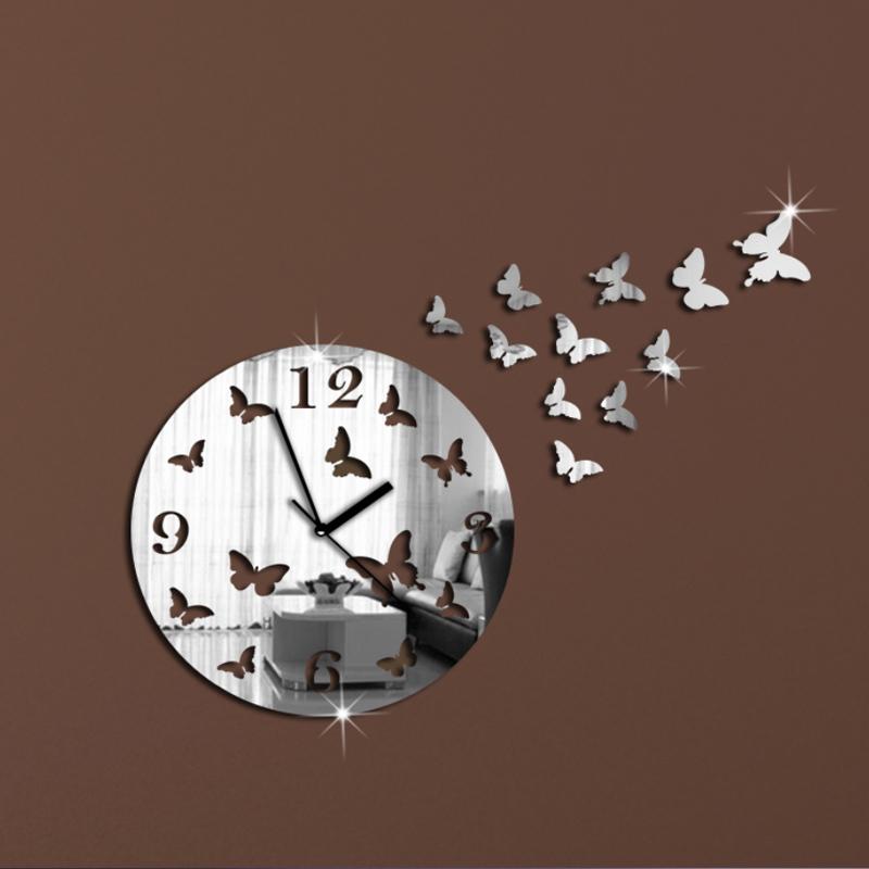 2015 New Wall Clock Modern Design Acrylic Mirror Abstract Quartz Watch Living Room Reloj De Pared Large Decorative Wall Clocks(China (Mainland))