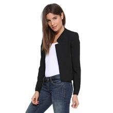 European fashion long sleeve women blazers and jackets 2016 suit cardigan femme blaser candy coat outerwear white black yellow(China (Mainland))