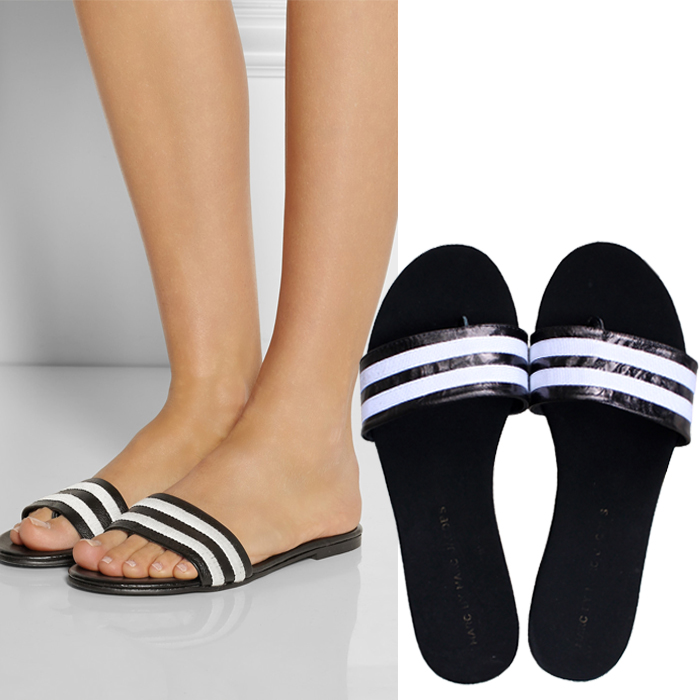 2015 Women's New Design Roma Striped Leather Flat Sandals Slide-in Slippers Breeze Sea Flip Flop Shoes - chinashoe store