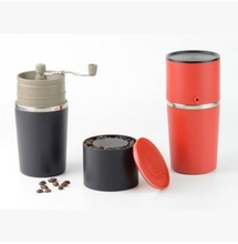 1pc 2 color 2016 new arrival mini cofee grinder&maker with Metal filter&kettle for drip coffee all in one outdoor Travel design