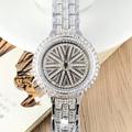 Classic Meter Shape Rotational Case Watches Luxury Full Crystals Women Dress Wrist watch Quartz Vogue Girls