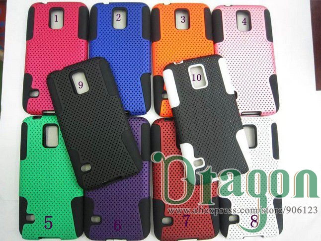 100pcs/lot New arrival High Quality Mesh Net 2 in 1 Hybrid Armor PC Silicone back case skin cover For Samsung Galaxy S5 SV i9600(China (Mainland))