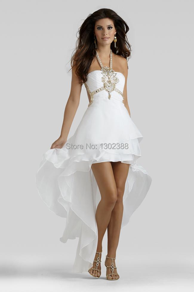 vestidos de formatura White Halter Gold Beads Short front ...