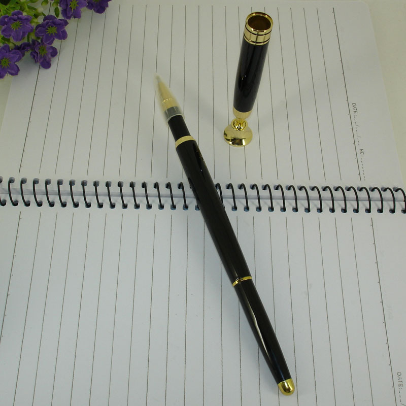 Desk Pen set MB Black Roller Ball Pen with Stand Classic Office Accessory Ball Pen with Base for Teachers Table Pen sets Gifts(China (Mainland))