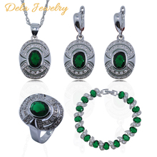 Best Sell Green Emerald White Topaz 925 Sterling Silver Women Jewelry Set Bracelet/Earrings/Pendant/Necklace/Ring Free Gift A14(China (Mainland))