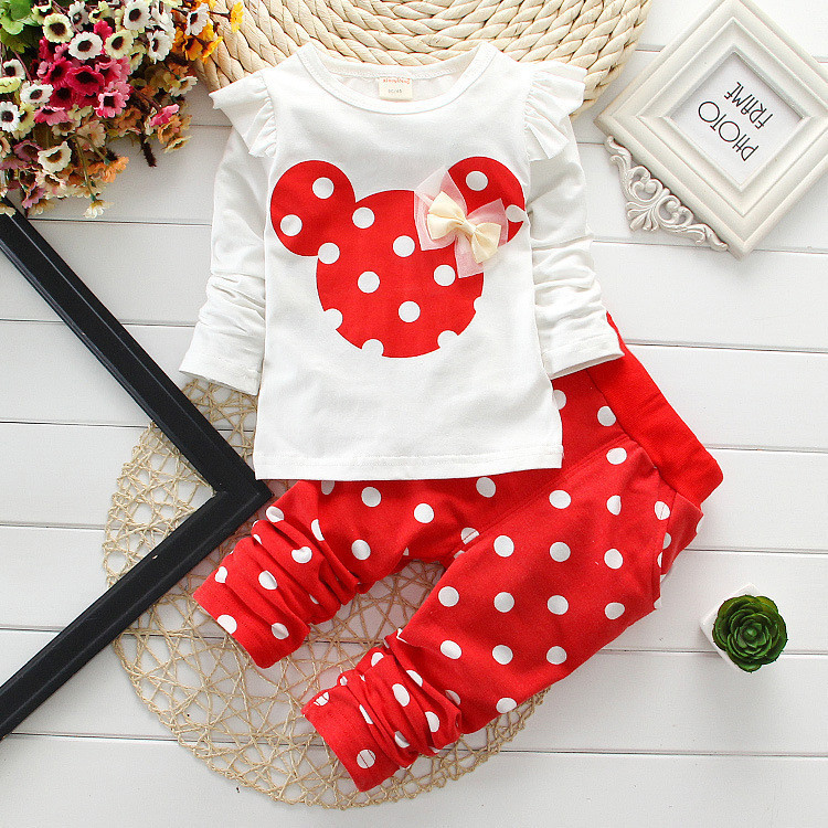 2015 new fashion girls clothing sets Minnie Bow Cotton Kids Tops T-shirt + leggings baby child two suits retail - MJ Clothes store