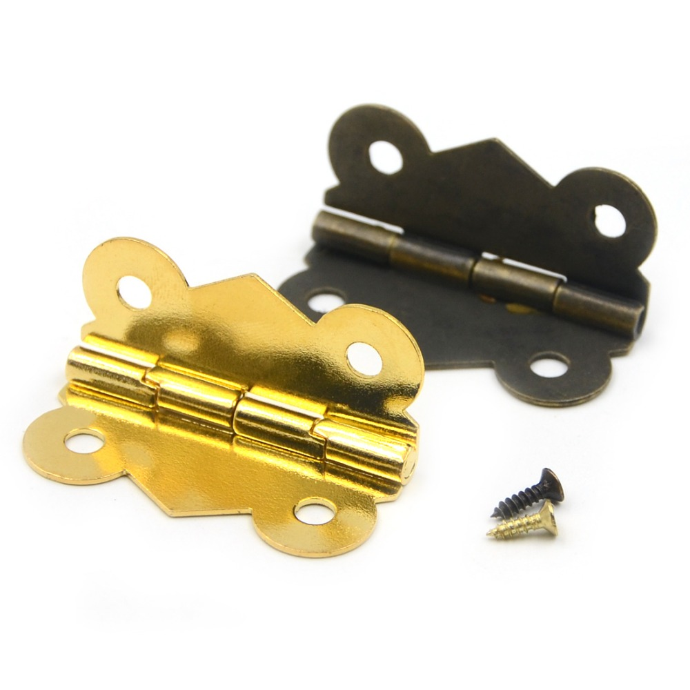 10pcs 40*33mm 90 Degrees Mix 2 colors Butterfly Iron Hinges Cabinet Drawer Door with Screw(China (Mainland))