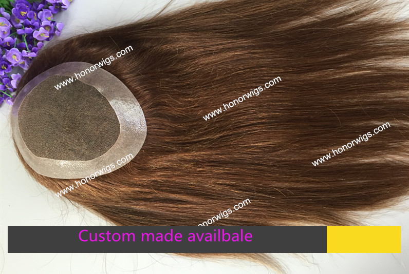 super thin skin around base size can be customized medium brown color women's toupee HT255(China (Mainland))