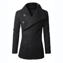 2016 Fashion Winter Mens Jackets And Coats Duffle Coat Stylish British style Single Breasted Mens Pea Coat Wool Trench Coat(China (Mainland))