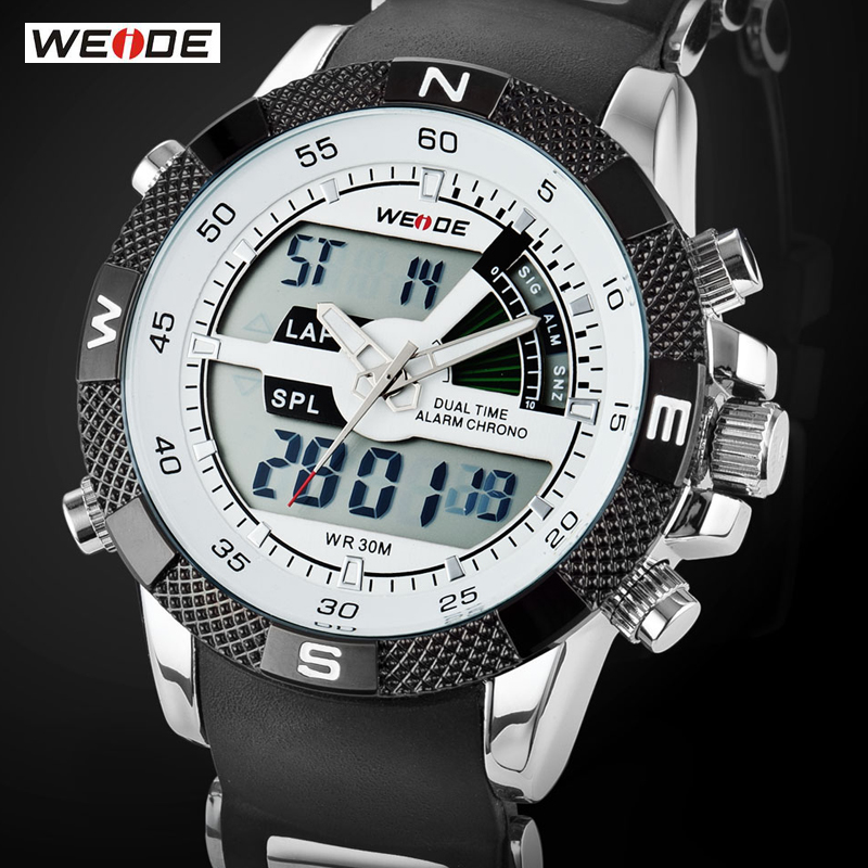 WEIDE Luxury Brand Men Sports Watch 3ATM Waterproof Multifunction Quartz Digital LED Backlight Military Watches - TYT Professional Wristwatches store
