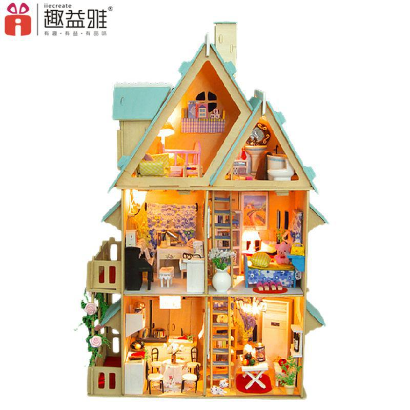 Home Decoration Crafts DIY Doll House large Wooden Dolls House 3D Miniature Model Kit  dollhouse Furniture Room LED Light 13003<br><br>Aliexpress