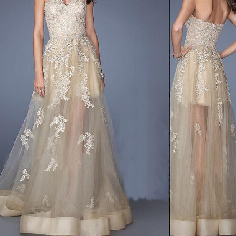 strapless sexy V-neck chiffon lace applique beautiful lady dress long section prom dresses 2015(China (Mainland))