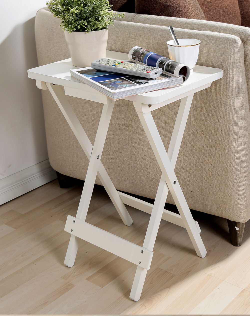 mobile creative wood small coffee table white minimalist