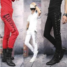 Personalized casual Straps punk dance pant slim for the mens sport pants outdoor motocross trousers pantalones hombre clothing