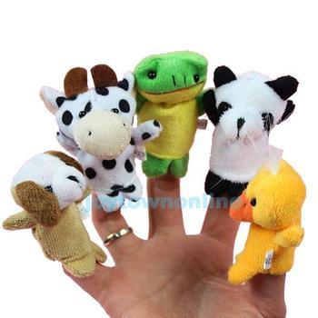 10 Pieces/Lot Cute Cartoon Animal Finger Puppet Biological Animal Finger Puppet Plush Toys Child Baby Favor Dolls