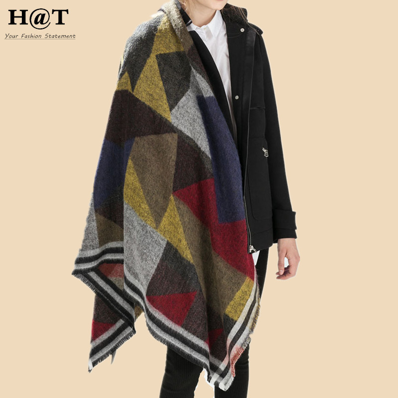 GS61 New Celeb Style Womens Geometric Diamond Pattern Oversized Super Soft Blanket Scarf & Wrap Winter Woolen Scarf(China (Mainland))