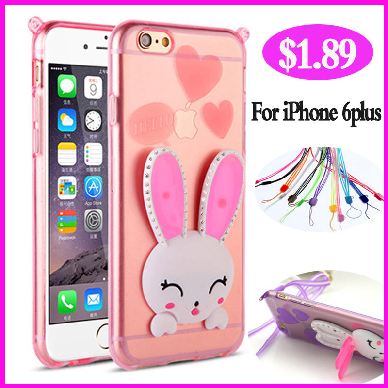 Case For Apple iPhone 6 iPhone6 plus 5.5 inch Rabbit Case Luxury Brand Clear i Cover Diamond By TPU Girl Soft Thin Phone 6 plus(China (Mainland))