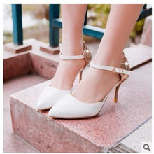 Lady big size 4-15 Elegant Summer Glitter buckle strap soft Pointed toe thin high heeled sandals shoes women pumps 5colors girls(China (Mainland))