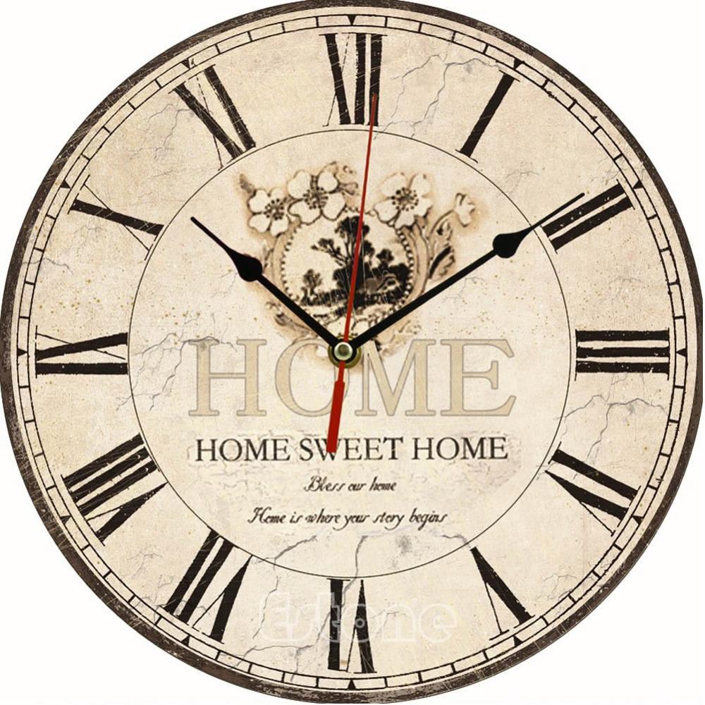 Large Vintage Flower Wooden Wall Clock Kitchen Antique