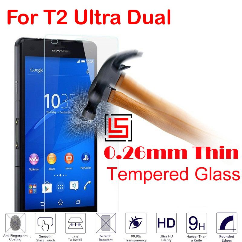 New 0.26mm 2.5D 9H Tempered Glass Phone Cell Front Film Screen Ecran Protector For Sony Soni Xperia T2 Ultra Dual D 5322 T 2(China (Mainland))