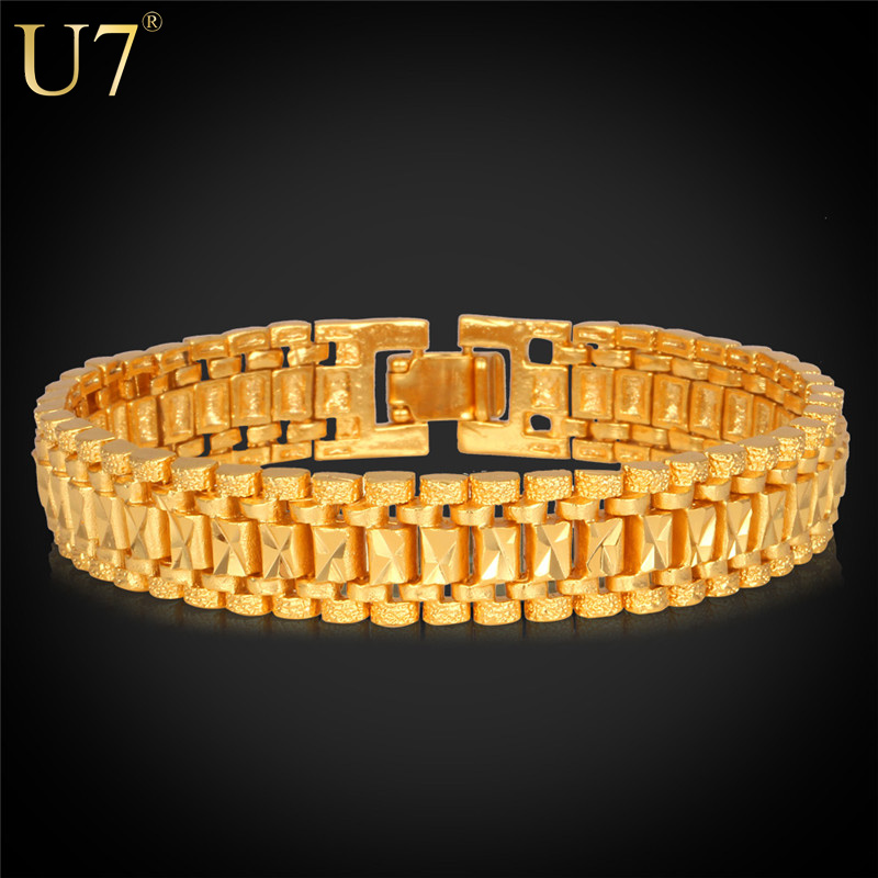 U7 18K Gold Bracelet Men Jewelry Rock Style 18k Real Gold /Platinum Plated 19cm 12MM Chunky Chain Link Bracelet Wholesale H550(China (Mainland))